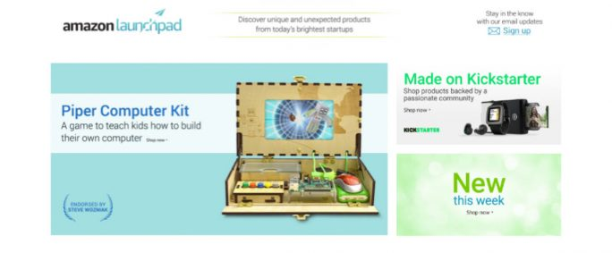 In der Kickstarter Collection werden derzeit etwa 300 erfolgreich finanzierte Kickstarter-Produkte aus den Bereichen Elektronik, kabellose Accessoires, Haus & Küche, Bücher, Film & Fernsehen sowie Spielzeug & Spiele gelistet (Screenshot: ZDNet.de).