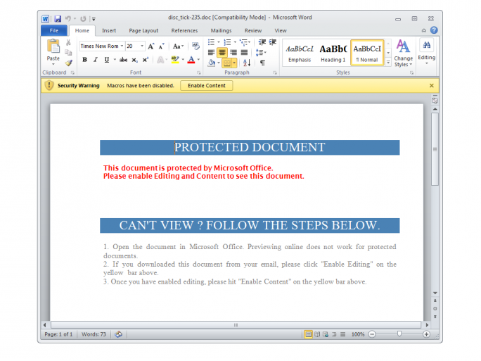 Das Word-Dokument versucht Nutzer per Social Engineering zum Ausführen eines Makros zu verleiten (Bild: Proofpoint).