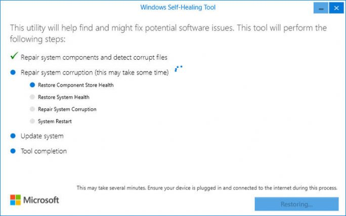 Microsoft Self Healing Tool (Bild: ZDNet.com)