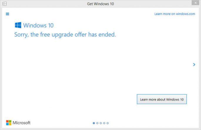 Microsoft hat das kostenlose Upgrade auf Windows 10 beendet (Screenshot: Ed Bott/ZDNet.com).