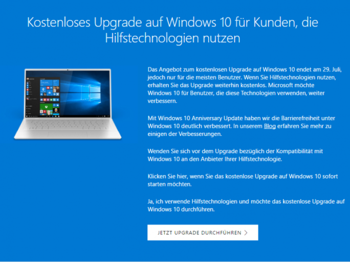 Nutzer, die auf Hilfstechnologien angewiesen sind, können weiterhin kostenlos auf Windows 10 umsteigen (Bild: Microsoft).