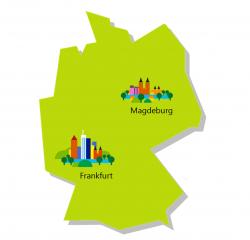 Frankfurt und Magdeburg sind die beiden neuen Rechenzentrumsstandorte von Microsoft in Deutschland. Damit weitet Microsoft die zahl der weltweiten Cloud-Regionen auf 34 aus, wovon bereits 30 im Betrieb sind, wie das Unternehmen mitteilt. (Bild: Microsoft)