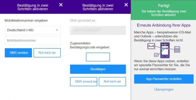 Yahoo: Für die Aktivierung der Zwei-Faktor-Authentifizierung ist die Angabe der Telefonnummer erforderlich (Screenshot: ZDNet.de)