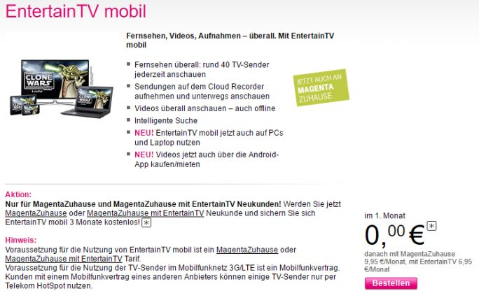 Telekom EntertainTV mobil (Screenshot: ZDNet.de)