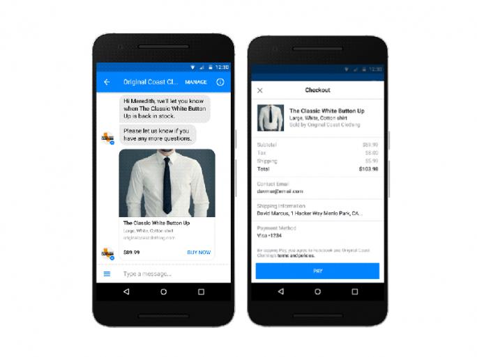 Facebook bietet im Messenger künftig einen Kaufen-Button an (Bild: Facebook).