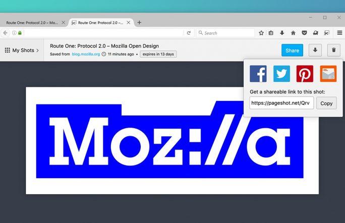 Das Experiment Page Shot soll auch das Veröffentlichen von Browser-Screenshots in Sozialen Medien vereinfachen (Bild: Mozilla).