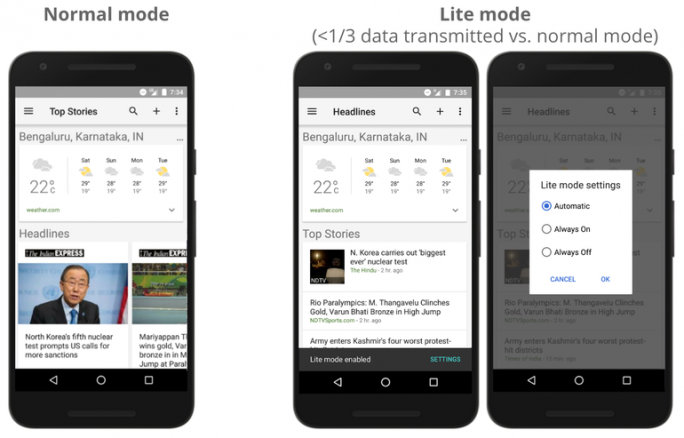 Google News im Lite-Modus (Bild: Google)