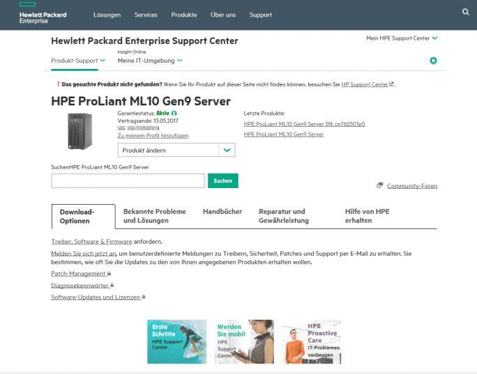HPE bietet für den HPE ProLiant ML10 Gen9 eine eigene Internetseite mit Treibern, Informationen und Supportdaten (Screenshot: Thomas Joos).