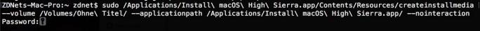 macOS: Passwort im Terminal eingeben (Screenshot: ZDNet.de)