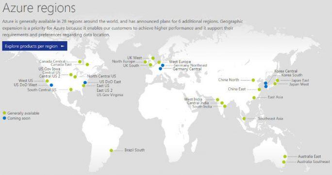 Azure-Rechenzentren, Stand September 2016 (Bild: Microsoft)