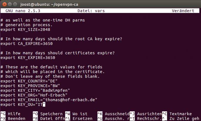Mit einem Editor lassen sich die Anpassungen für Easy-RSA-Zertifikate anpassen. Diese sind für die Konfiguration von OpenVPN notwendig (Screenshot: Thomas Joos).