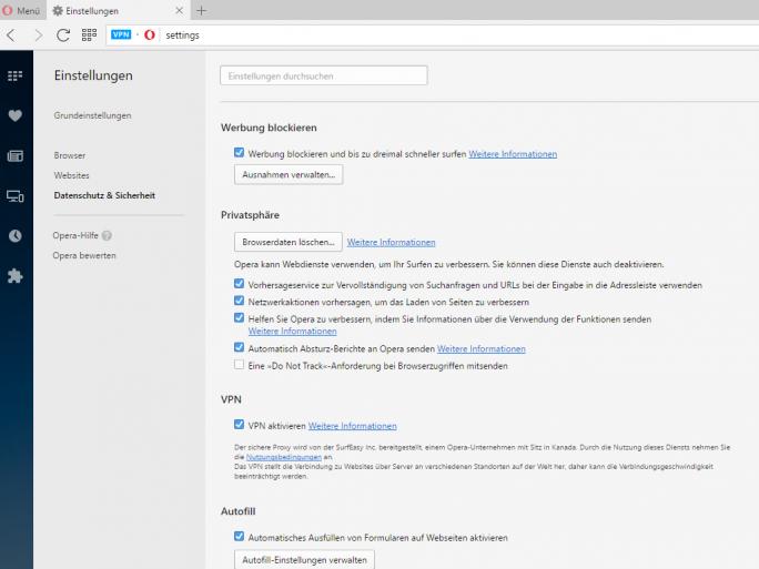 Nutzer von Opera 40 können in den Einstellungen nun den VPN-Modus aktivieren (Screenshot: ZDNet.de).