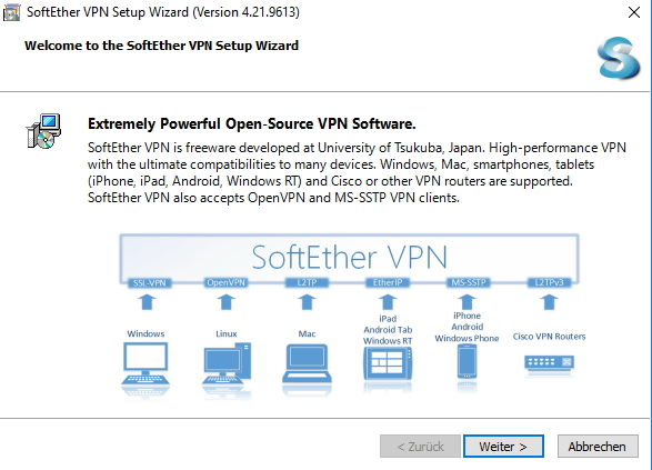 Durch die Installation von SoftEther-VPN führt ein Assistent (Screenshot: Thomas Joos).