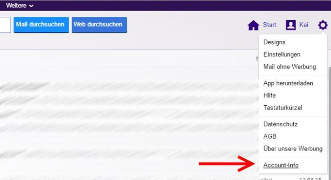 Yahoo: Zahnrad-Symbol, Account-Info (Screenshot: ZDNet.de)