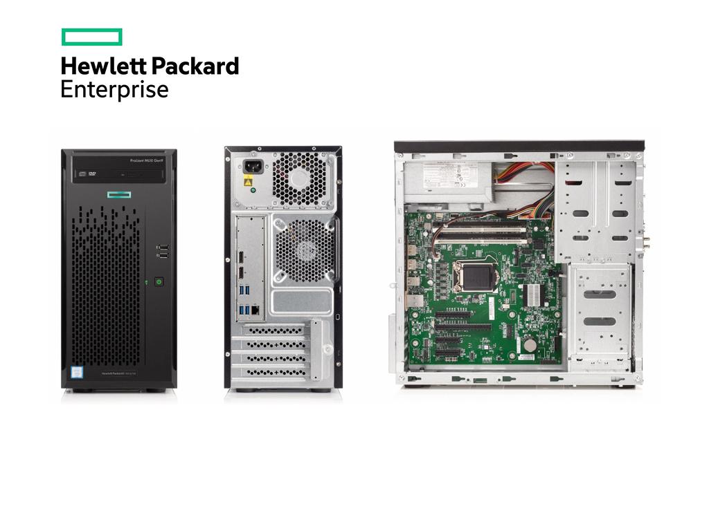 Der HPE ProLiant ML10 Gen9 ist mit einem auf der aktuellen Intel-Skylake-Architektur basierenden Xeon E3-1225 v5 ausgestattet. Der Quad-Core-Prozessor bietet einen Standardtakt von 3,3 GHz, die Turbo-Frequenz beträgt 3,7 GHz (Bild: HPE).