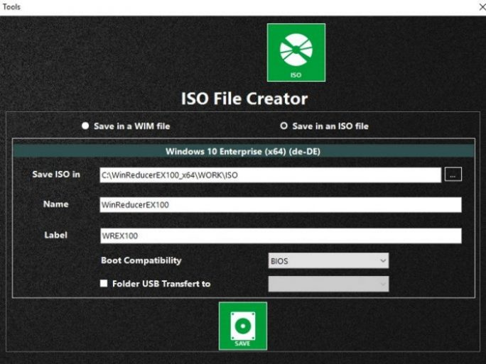 WinReducer: ISO-Date erstellen (Screenshot: Thomas Joos)