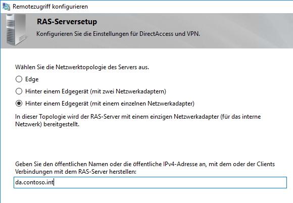 Auswählen der Netzwerktopologie für die Einrichtung von DirectAccess (Screenshot: Thomas Joos).