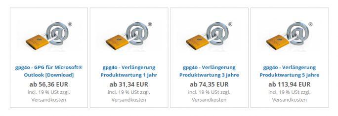 Lizenzgebühren von Giegerich & Partner für gpg4o für gewerbliche Nutzer (Screenshot: ZDNet).