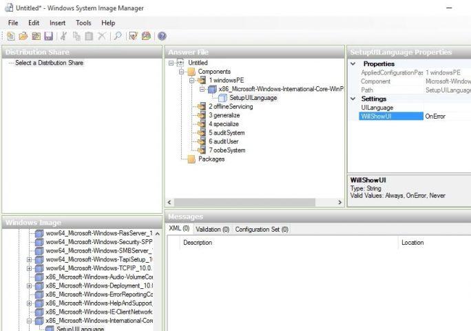 Mit Windows System Image Manager erstellen Sie eine Antwortdatei für die automatisierte Installation von Windows 10 (Screenshot: Thomas Joos).