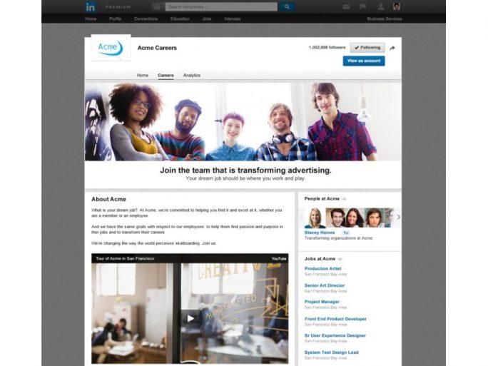 Karriereseite einer fiktiven Firma (Bild: LinkedIn)