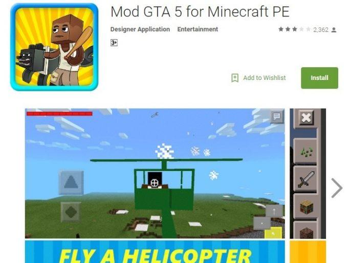 """Unter anderem die im Play Store angebotene Minecraft-Erweiterung """"Mod GTA 5"""" enthielt den Trojaner Dresscode (Screenshot: Trend Micro)."""