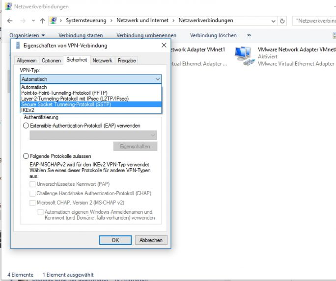 Das Aktivieren von SSTP für eine VPN-Verbindung erfolgt in den Eigenschaften einer VPN-Verbindung (Screenshot: Thomas Joos).