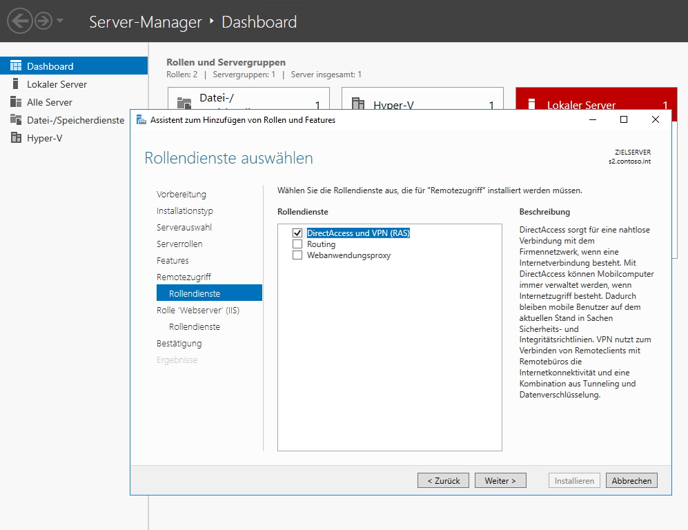 VPN-Server mit Windows Server 2012 R2 und Windows Server