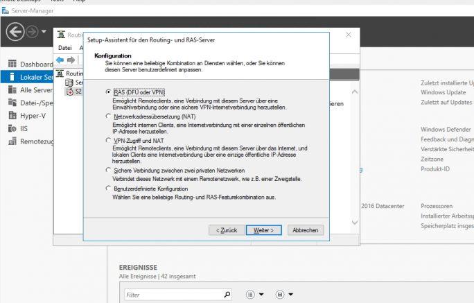 Einrichten eines VPN-Servers über den Assistenten (Screenshot: Thomas Joos).