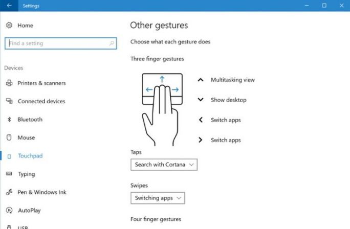 Mehrfinger-Touchpad-Gesten in Windows 10 (Bild: Microsoft)