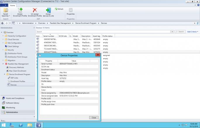 SCCM zeigt im DEP-Portal registrierte Macs (Bild: Parallels).