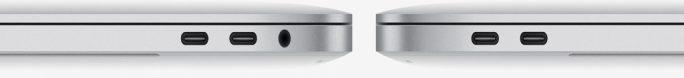 """MacBook Pro 13"""": Vier kombinierte Thunderbolt-USB-C-Schnittstellen stehen bereit. Auf Standard-USB, SD-Card-Slot und HDMI hat Apple verzichtet. Für den Anschluss entsprechender Geräte müssen Anwender auf Adapter ausweichen (Bild: Apple)"""