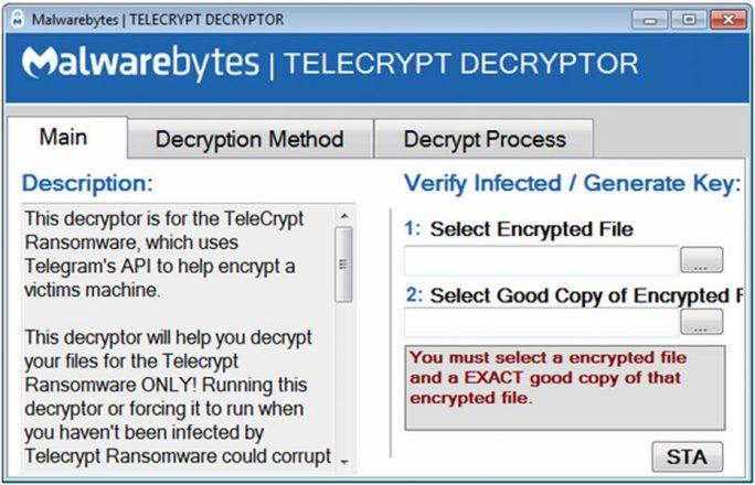"""Der von Malwareybytes jetzt zur Verfügung gestellte """"TeleCryptz Decryptor"""" (Screenshot: Malwartebytes)"""