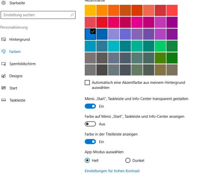 Farben und Transparenz lassen sich in Windows 10 in den Einstellungen steuern (Screenshot: Thomas Joos).