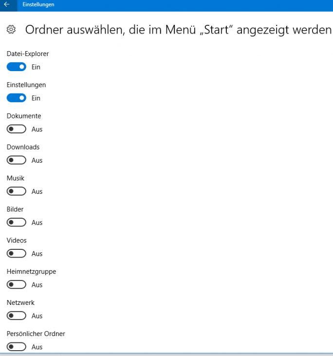 Die Verzeichnisse des Startmenüs lassen sich in den Einstellungen von Windows 10 anpassen (Screenshot: Thomas Joos).