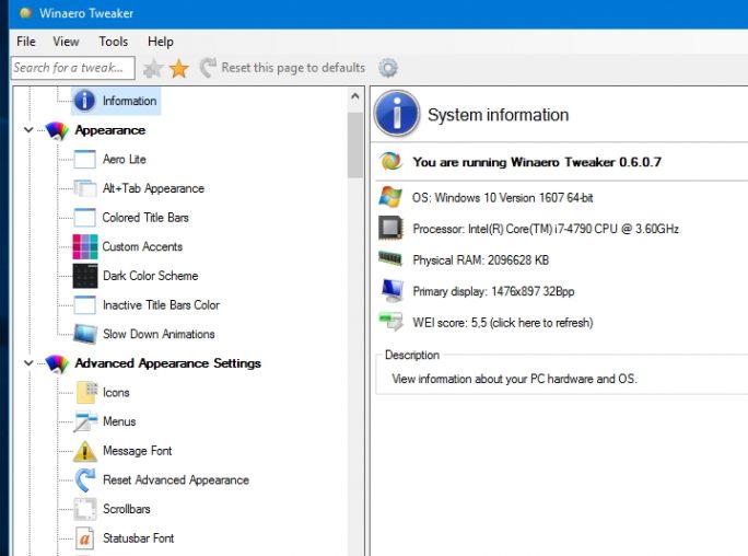 Die Oberfläche von Windows 10 lässt sich mit dem Winaero Tweaker anpassen (Screenshot: Thomas Joos).