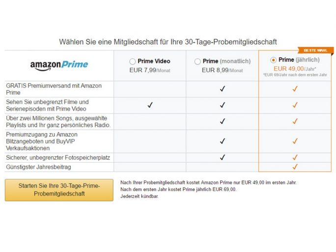 Amazon Prime (Screenshot: ZDNet.de)