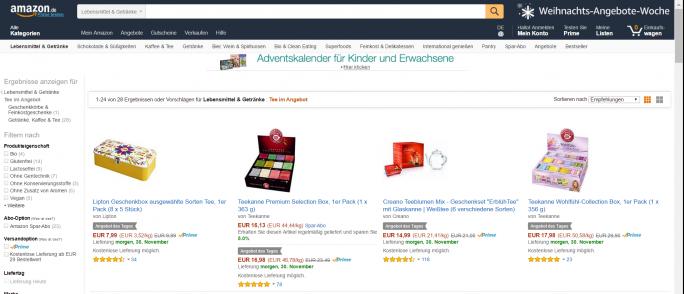 Amazons Weihnachts-Angebote-Woche vom 29. November bis zum 6. Dezmeber (Screenshot: ZDNet.de)