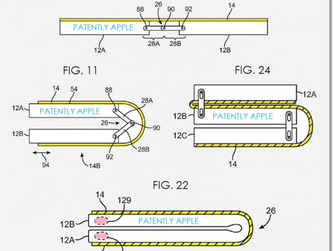 Apple möchte das iPhone falten (Bild: USPTO / Patently Apple).