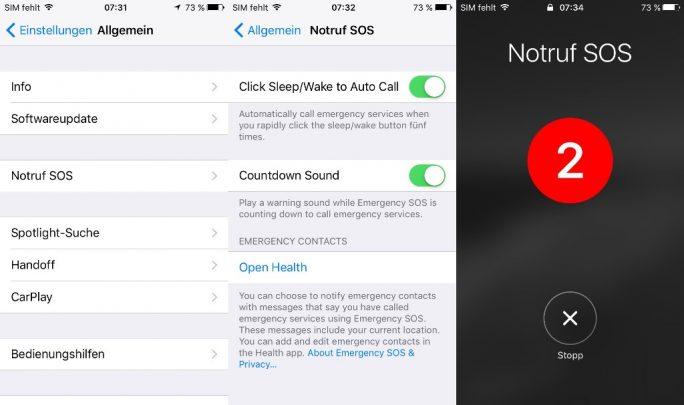 iOS 10.2 bringt eine SOS-Funktion, die hierzulande die Notrufnummer 112 anwählt (Screenshot: ZDNet.de).