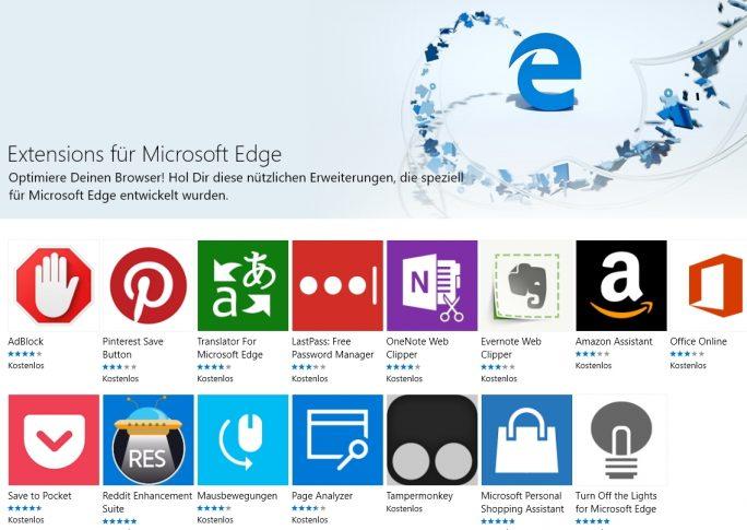 Ab Windows 10 Version 1607 unterstützt Microsoft Edge auch Erweiterungen. Die Installation lässt sich über Gruppenrichtlinien aber verhindern (Screenshot: Thomas Joos).