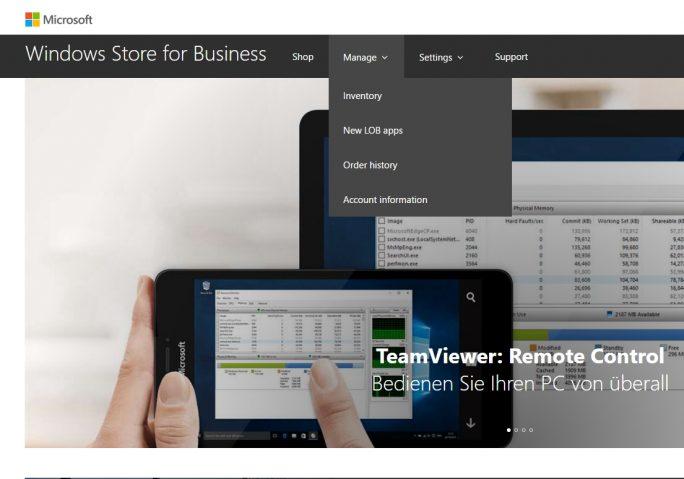 Nach der Registrierung haben Administratoren bereits Zugriff auf den Windows Store für Unternehmen (Screenshot: Thomas Joos).