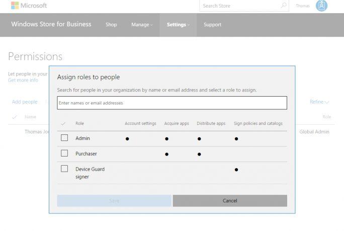 In der Verwaltungsoberfläche des Windows Store für Unternehmen können Administratoren auch die Berechtigungen anpassen (Screenshot: Thomas Joos).