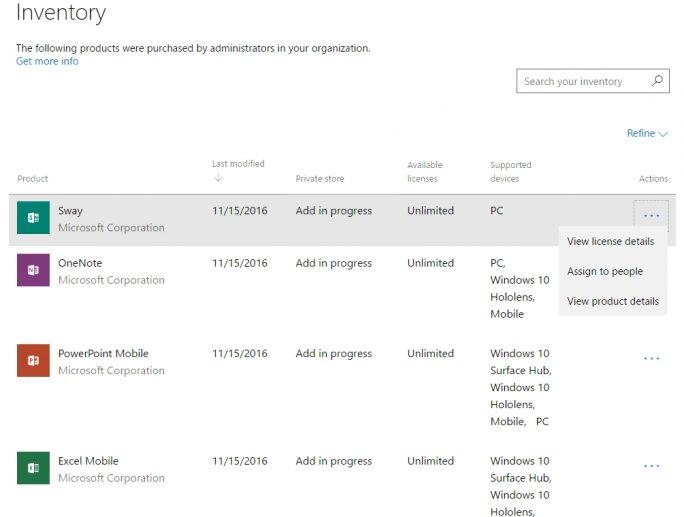Im Inventar des Store können Administratoren die Lizenzen zuweisen und erkennen, welche Apps durch Anwender verwendet werden (Screenshot: Thomas Joos).