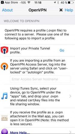 VPNs auf Basis von OpenVPN lassen sich in iOS 10 schnell und einfach mit dem OpenVPN-Client und einer Konfigurationsdatei aufbauen (Screenshot: Thomas Joos).