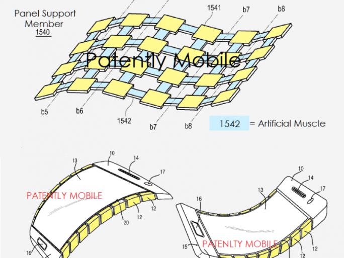 Samsung denkt an verschieden verformbare Displays (Bild: USPTO / Patently Mobile).