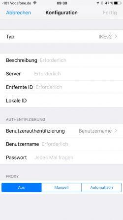 iPhones und iPads lassen sich mit internen Einstellungen schnell und einfach an VPNs anbinden (Screenshot: Thomas Joos).