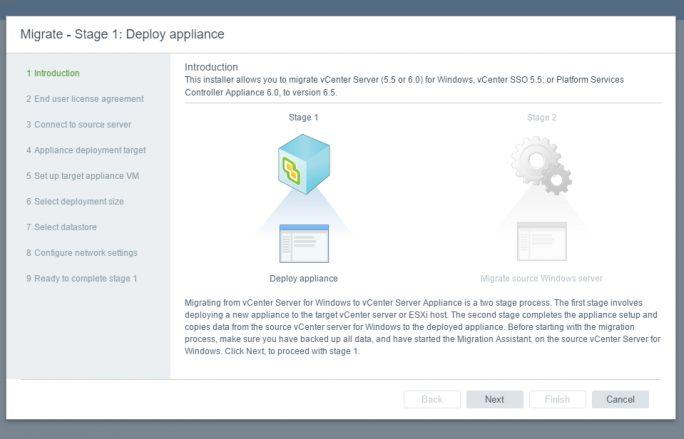 Bei der Installation der vCenter 6.5-Appliance können Administratoren auch von vorherigen Versionen migrieren (Screenshot: Thomas Joos).