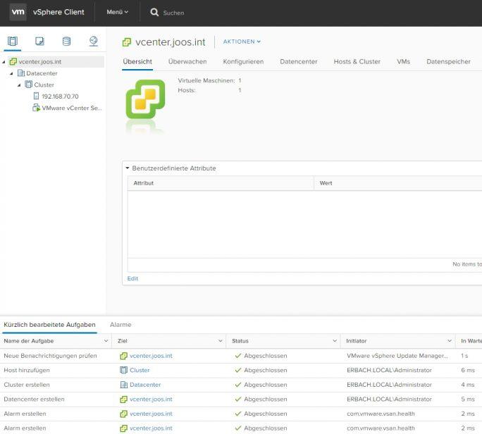 vSphere 6.5 kommt mit einem verbesserten HTML5-Client, der den bisherigen Windows-Client ersetzt (Screenshot: Thomas Joos).