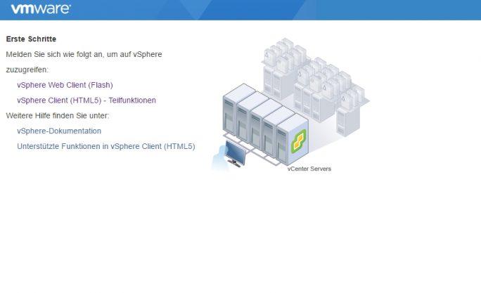 Beim Verbindungsaufbau zur vCenter-Weboberfläche lässt sich auswählen, ob eine Verbindung mit dem Flash-Client, oder dem neuen HTML5-Client erfolgen soll (Screenshot: Thomas Joos).